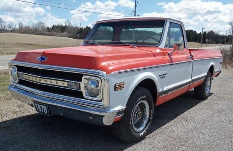 1970 Orange/White Chevrolet C10 with an 328 V8 engine, located at 1725 US-68 N, Bellefontaine, OH, 43311, (937) 592-5466, 40.387783, -83.752388 - Photo #1