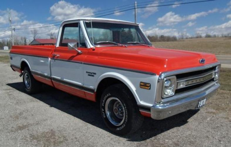 1970 Orange/White Chevrolet C10 with an 328 V8 engine, located at 1725 US-68 N, Bellefontaine, OH, 43311, (937) 592-5466, 40.387783, -83.752388 - Photo #3