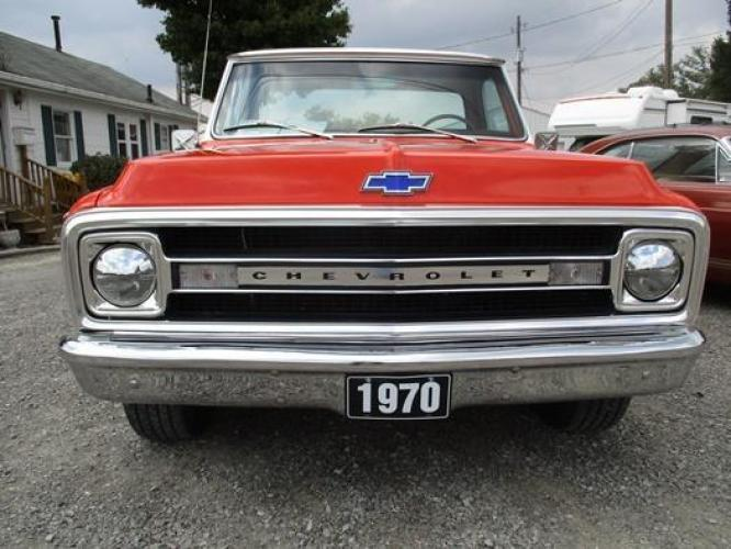 1970 Orange/White Chevrolet C10 with an 328 V8 engine, located at 1725 US-68 N, Bellefontaine, OH, 43311, (937) 592-5466, 40.387783, -83.752388 - Photo #31